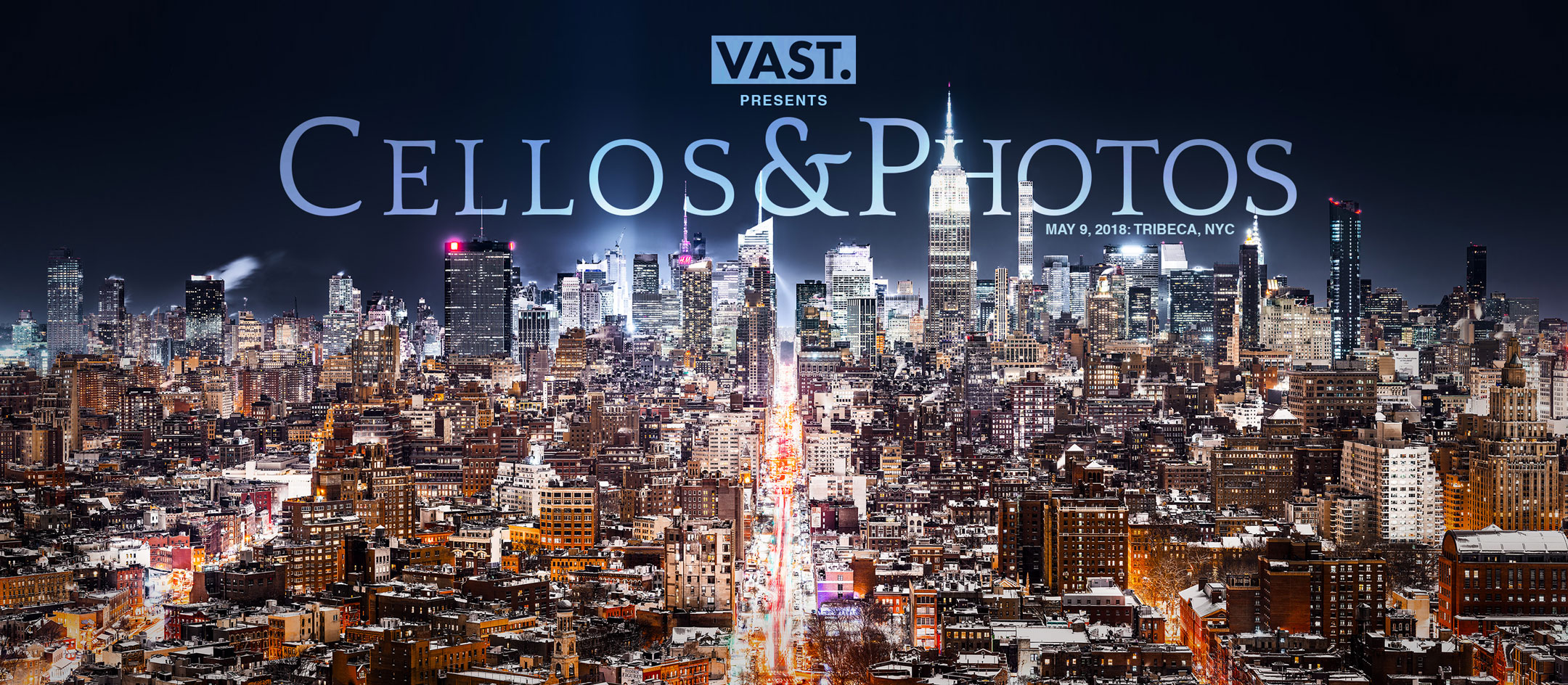 Private art event hosted by VAST, showcasing high resolution VAST photos of New York City and a cello octet