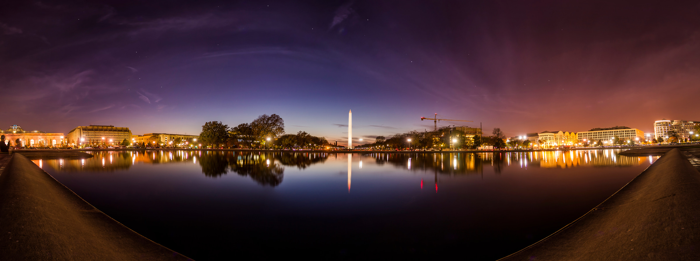 73 megapixels! A very high resolution VAST photo of the National Mall and the Washington Monument reflected in the Reflecting Pools at dusk; created by Dan Piech