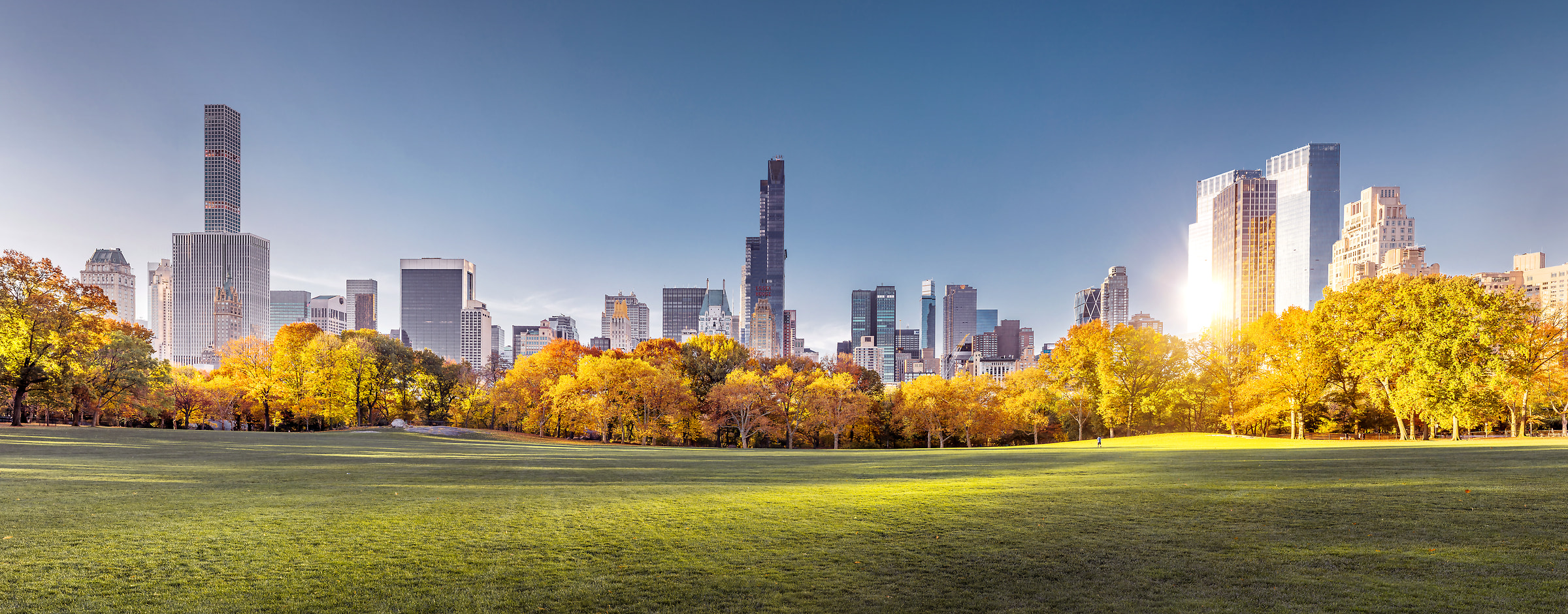 160 megapixels! A very high resolution landscape VAST photo of Sheep Meadow and the Manhattan skyline in Central Park at sunrise during autumn; created in New York City by Dan Piech