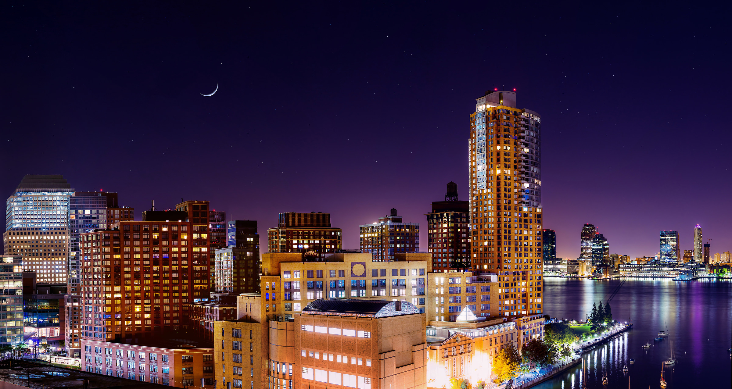 102 megapixels! A very high definition VAST photo of the Battery Park City neighborhood, Stuyvesant High School, and Tribeca Pointe on a starry night with a crescent moon; created in New York City by Dan Piech