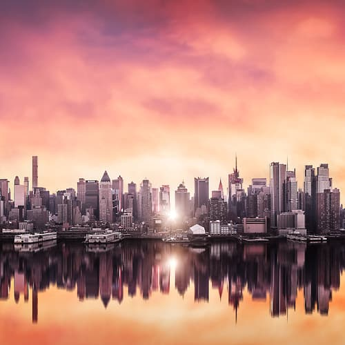 Thumbnail from A very high definition cityscape VAST photo of Manhattanhenge sunrise among the Midtown Manhattan city skyline skyscrapers; created in New York City by Dan Piech