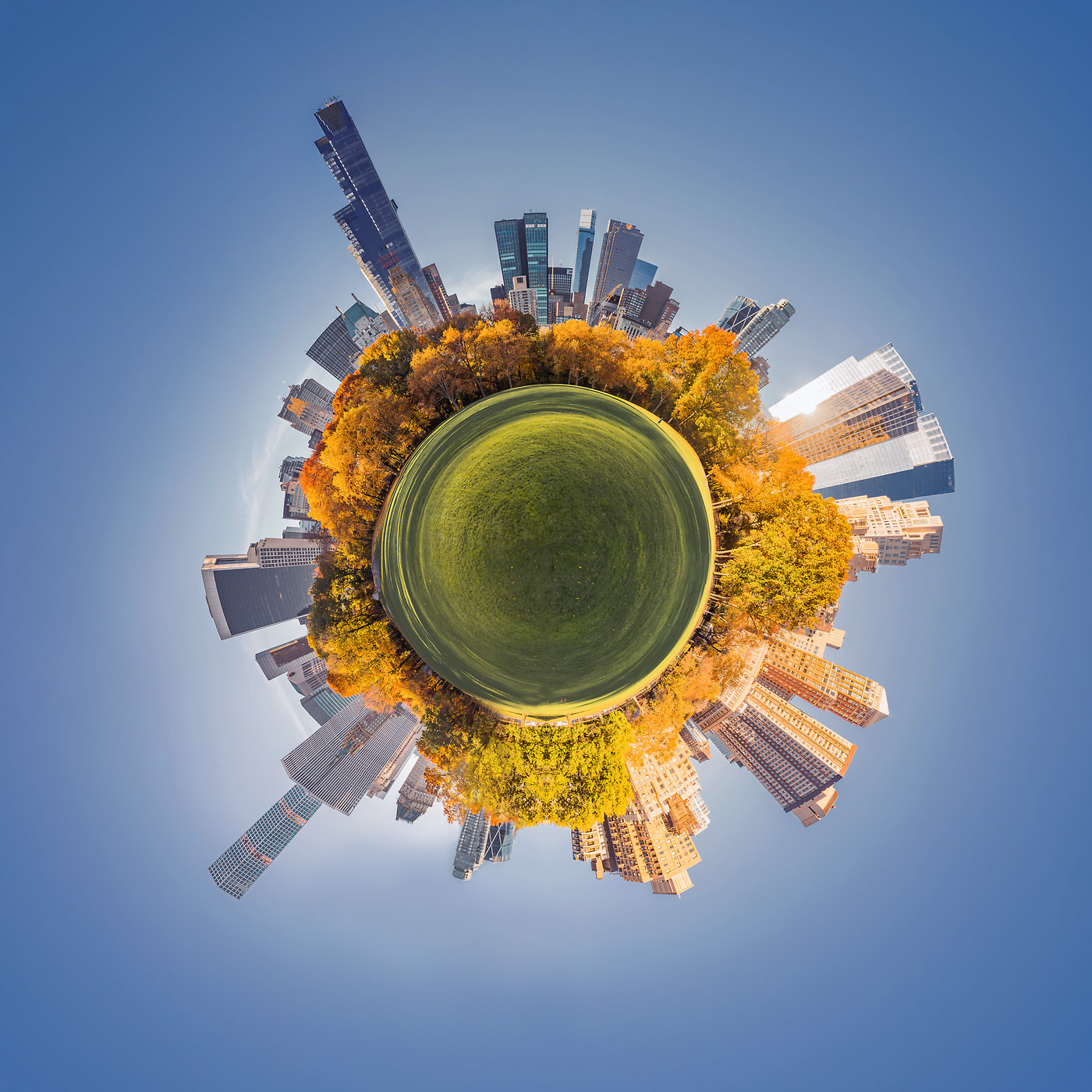 236 megapixels! A very high resolution abstract spherical planet VAST photo of autumn in Central Park, New York City; cityscape artwork created by Dan Piech
