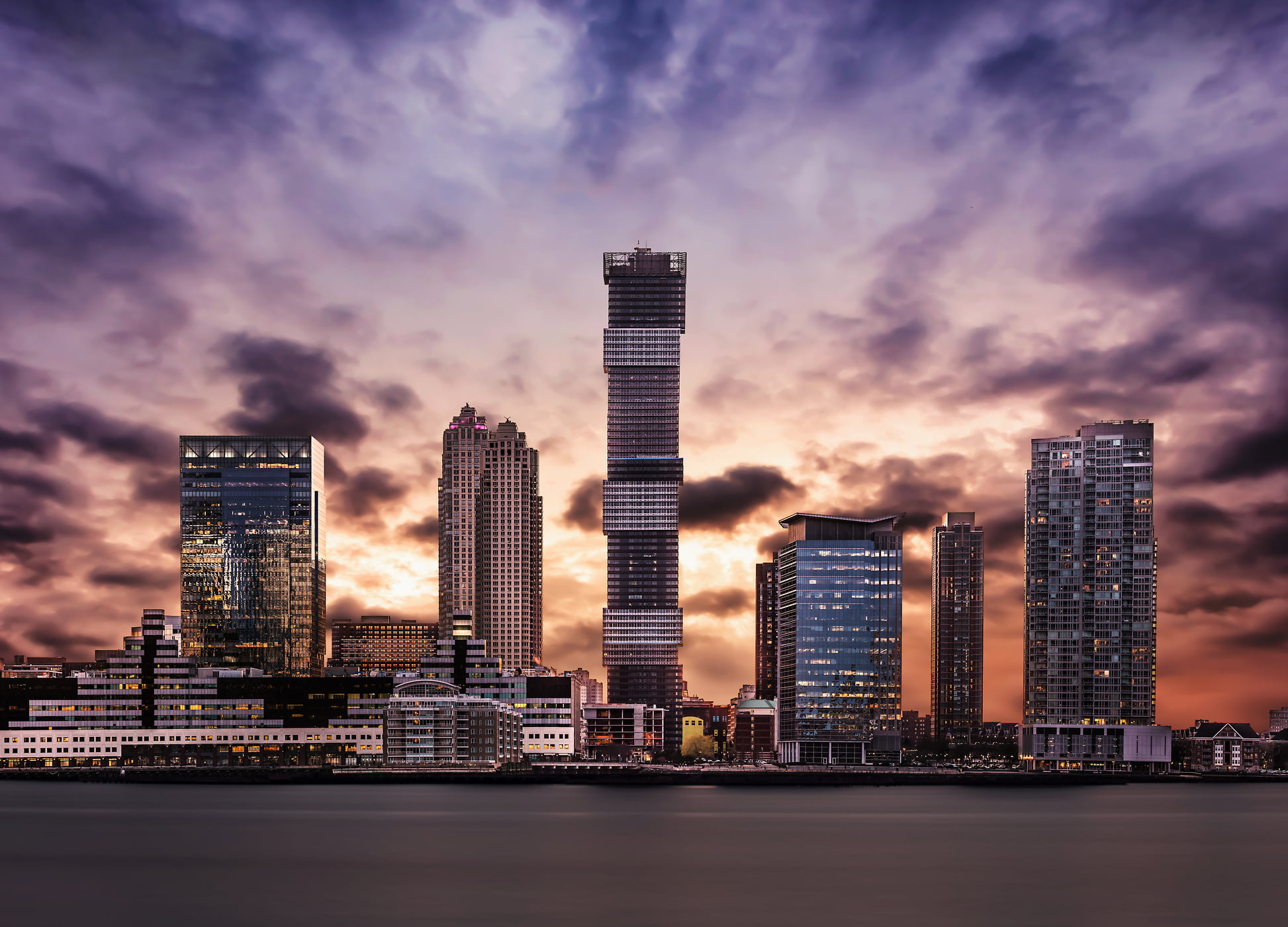 382 megapixels! A very high definition cityscape VAST photo of the Jersey City skyscrapers including URL Harborside 1 at sunset in New Jersey ; created by Dan Piech