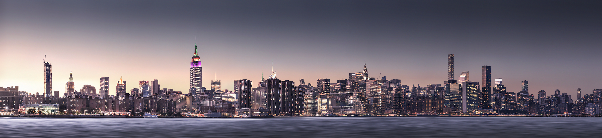 1,946 megapixels! The highest resolution cityscape VAST photo of the Midtown Manhattan city skyline in the evening sunset in New York City; created by Dan Piech