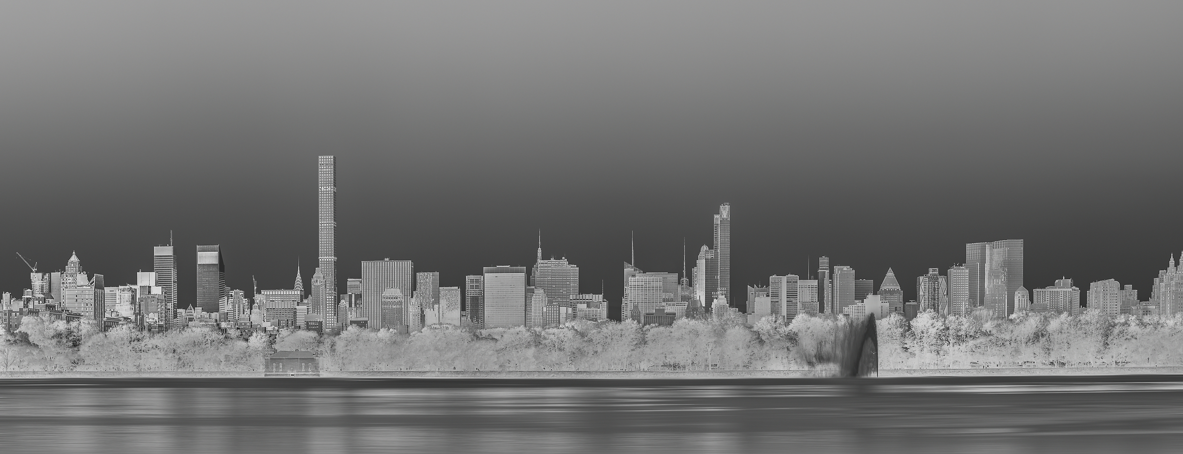 173 megapixels! A very high definition cityscape VAST photo of the Midtown Manhattan city skyline in New York City from the reservoir in Central Park; created by Dan Piech