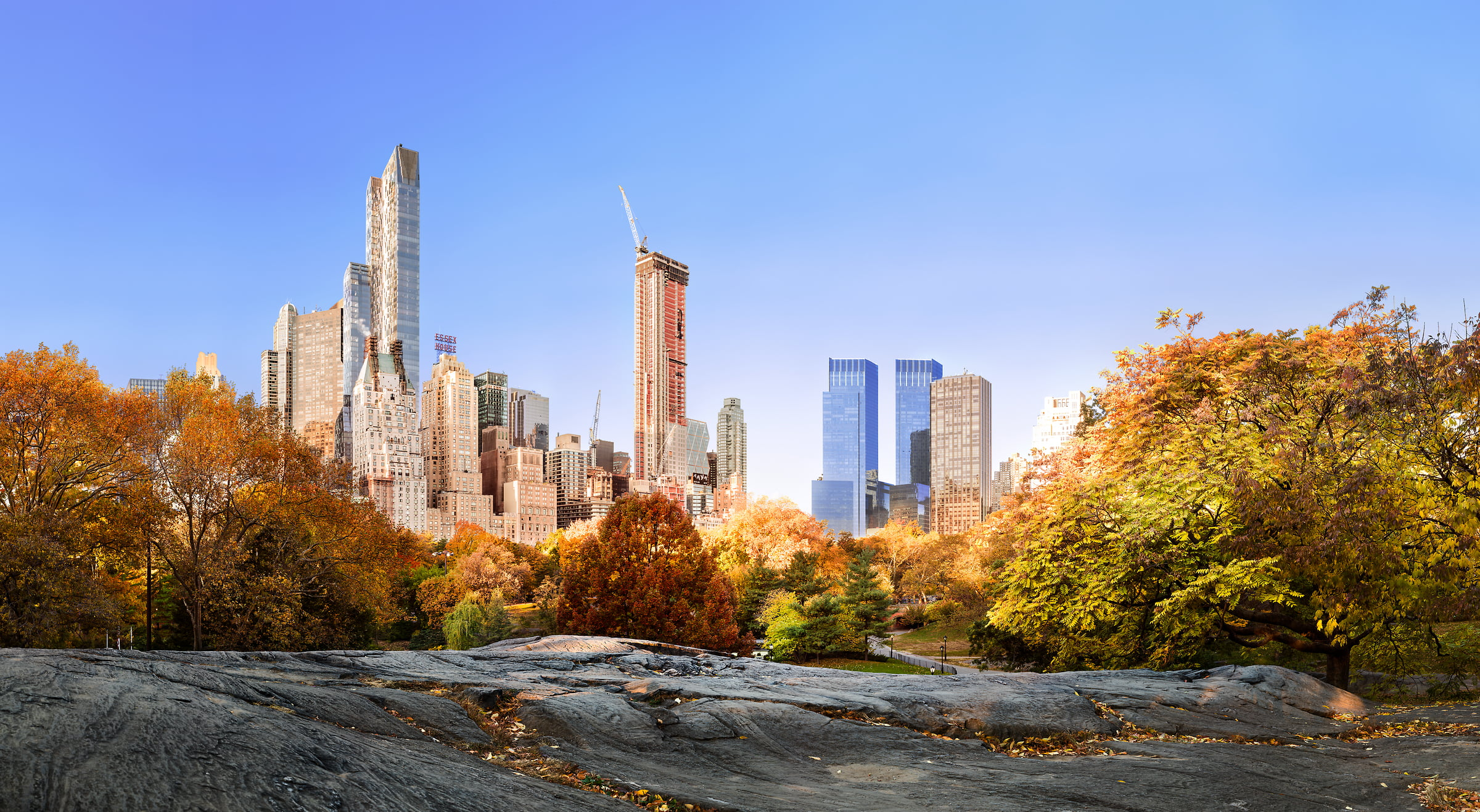 2,008 megapixels! A very high definition large format VAST photo print of autumn trees and skyline in Central Park, New York City at sunrise; created by Dan Piech