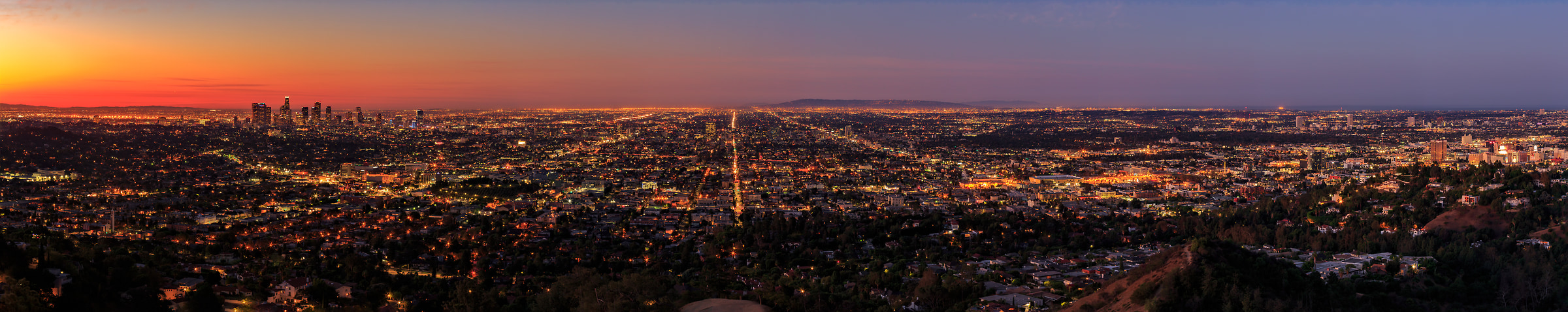 172 megapixels! A very high resolution, large-format VAST photo print of the Los Angeles and Hollywood skyline in California at sunrise and sunset; landscape photo created by cityscape photographer Guido Brandt