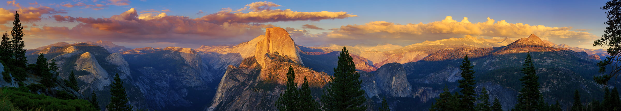 183 megapixels! A very high resolution, large-format VAST photo print of the Yosemite Naitonal Park valley and Half Dome at sunset from Glacier Point; nature landscape photo created by Guido Brandt