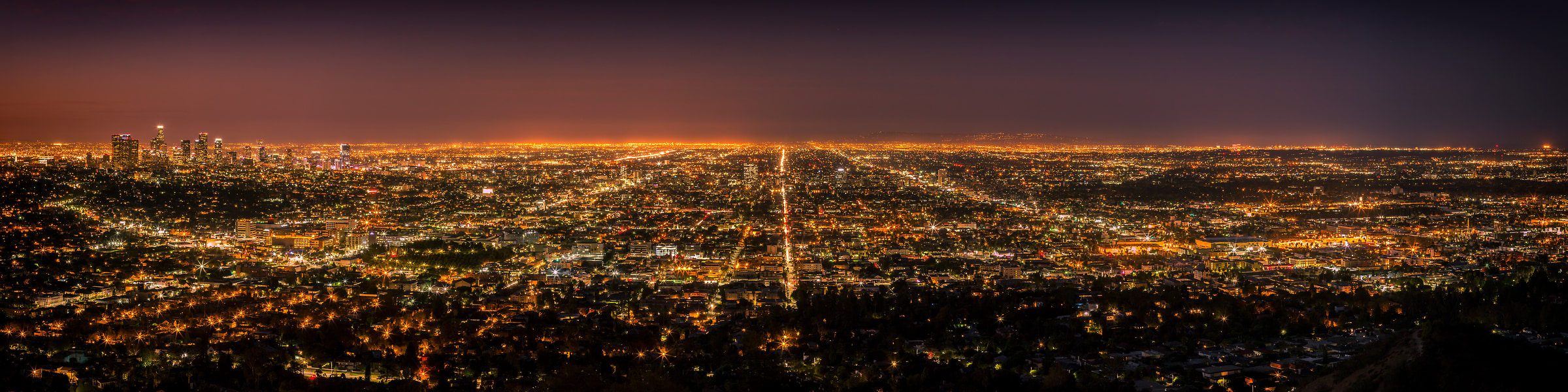 114 megapixels! A very high resolution, large-format VAST photo print of the Los Angeles and Hollywood skyline in California at sunrise and sunset; landscape photo created by cityscape photographer Guido Brandt