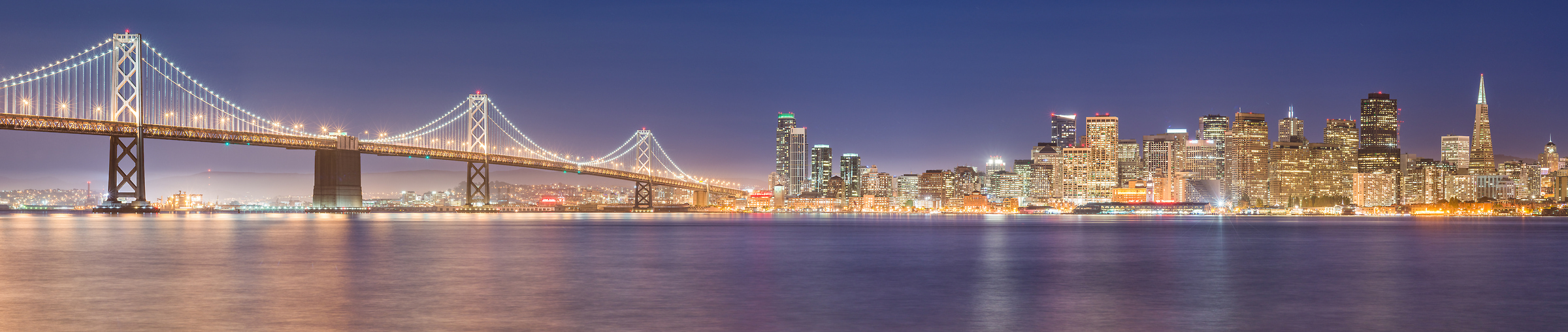 112 megapixels! A very high resolution, large-format VAST photo print of the San Francisco skyline in California at at night; cityscape photo created by Justin Katz