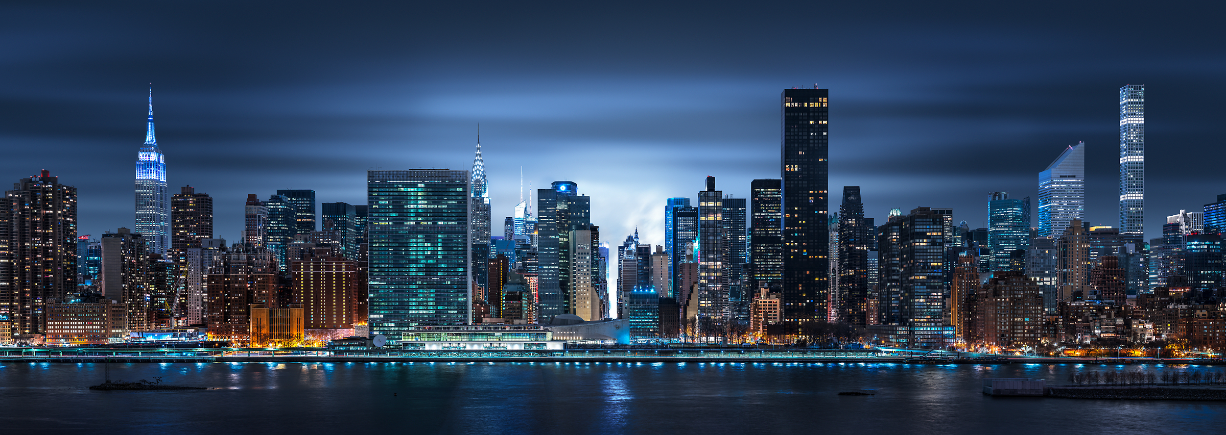 4,122 megapixels! A very high resolution, large-format VAST photo print of the NYC skyline at night with the East River; cityscape photo created by Dan Piech