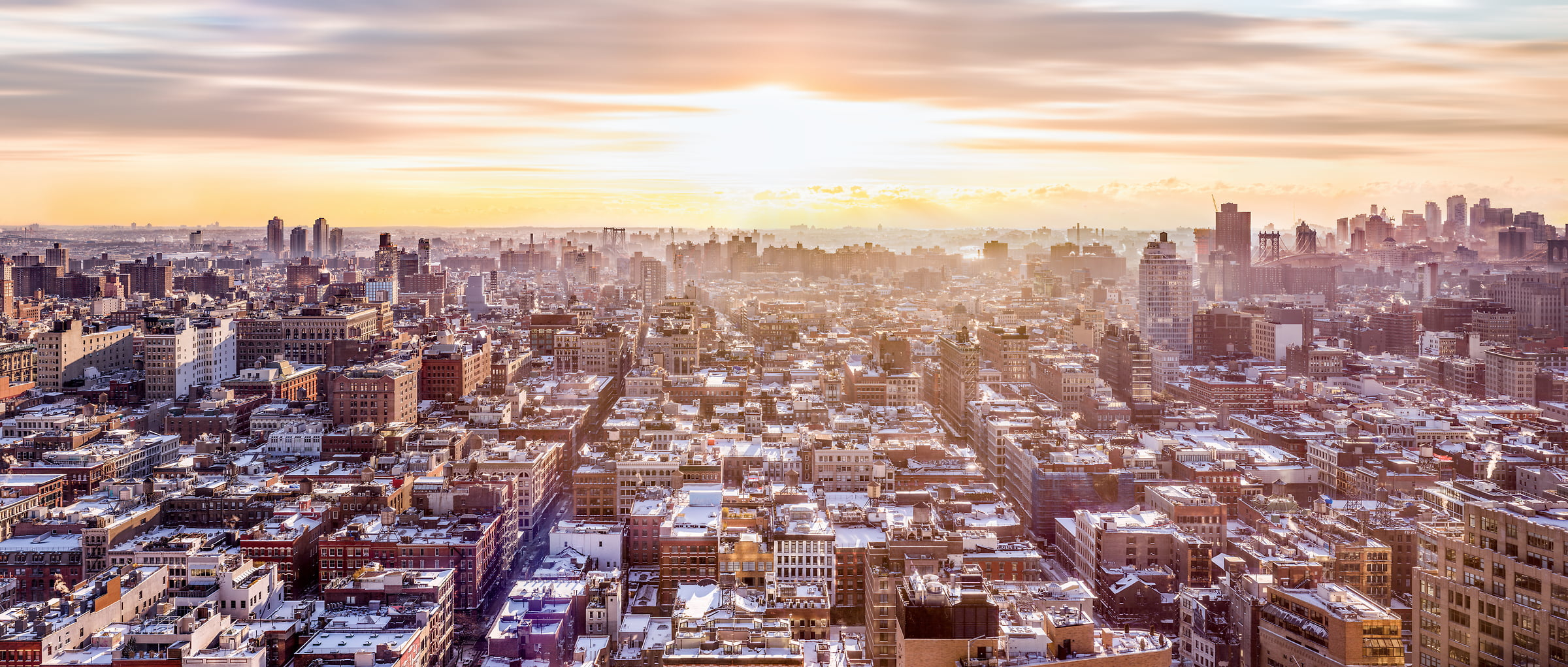 2,622 megapixels! A very high resolution, large-format VAST photo print of the SoHo skyline in NYC in winter snow; cityscape sunrise fine art photo created by Dan Piech in New York City