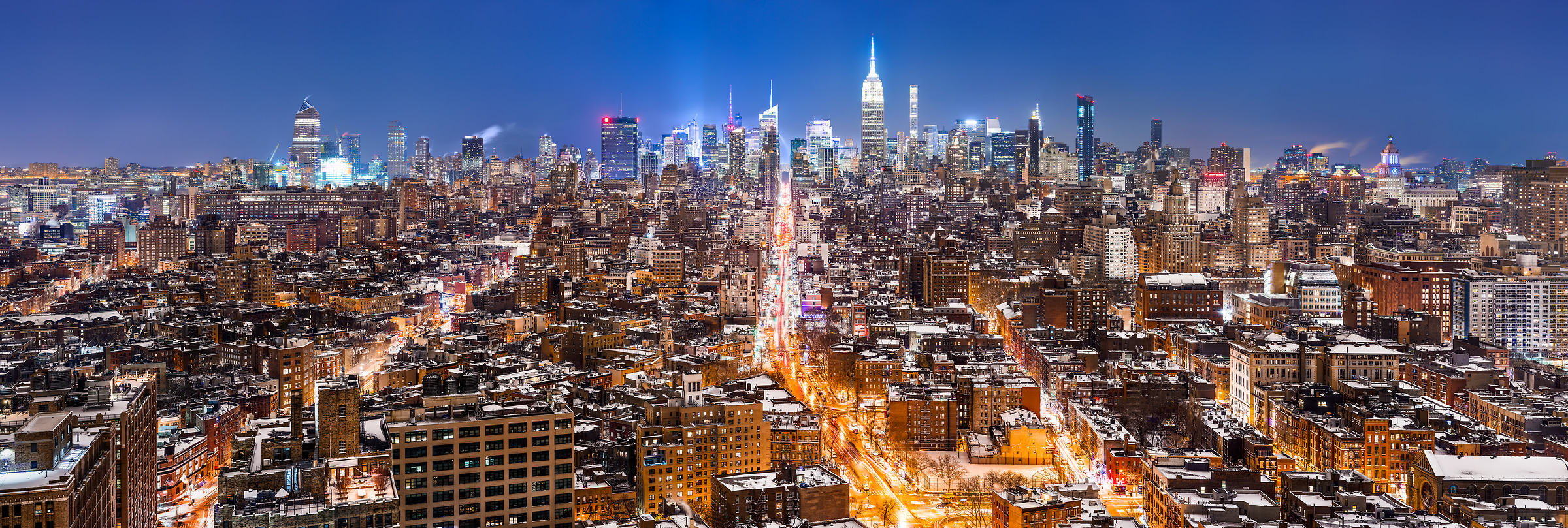 5,910 megapixels! A very high resolution, large-format VAST photo print of the NYC skyline in winter snow at night; cityscape fine art photo created by Dan Piech in New York City