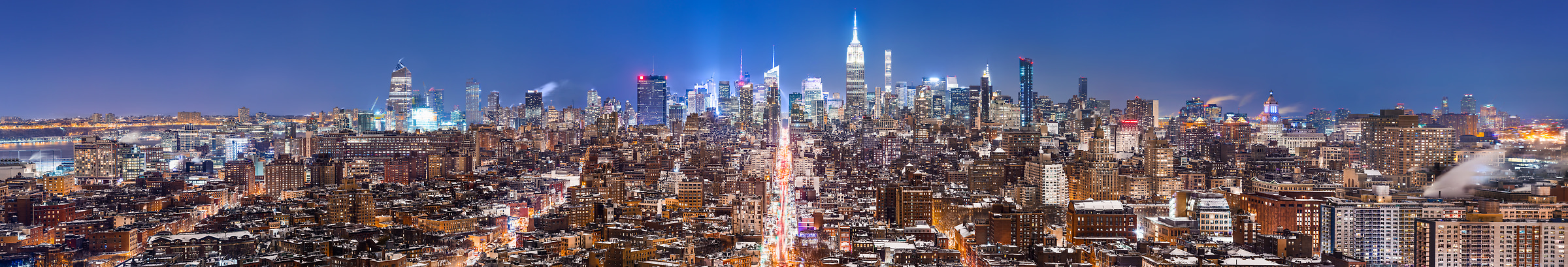 4,636 megapixels! A very high definition, large-format VAST photo print of the NYC skyline in winter snow at night; cityscape fine art photo created by Dan Piech in New York City