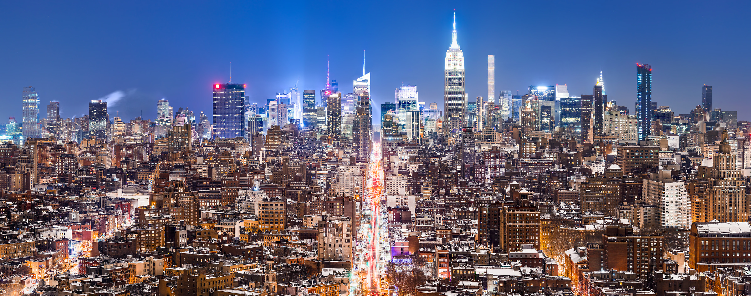 2,002 megapixels! A very high resolution, large-format VAST photo print of the NYC skyline in winter snow at night; cityscape fine art photo created by Dan Piech in New York City
