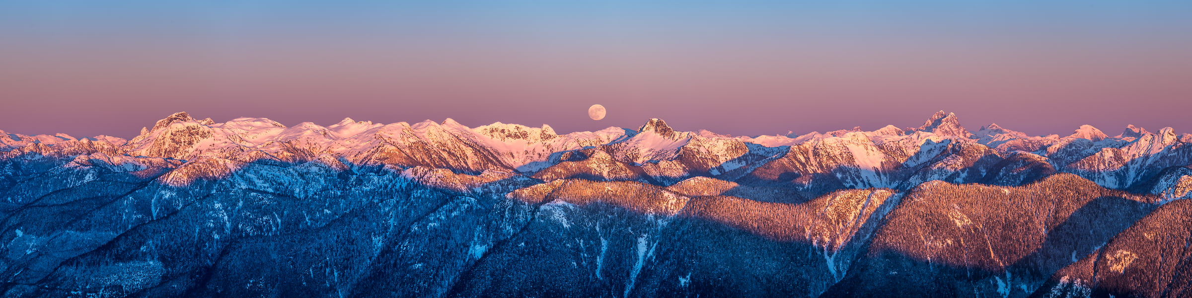 169 megapixels! A very high resolution, large-format VAST photo print of mountains, sunset, dusk, the moon, First Peak, and Mount Seymour Provincial Park; fine art landscape photo created by Tim Shields in Vancouver, British Columbia