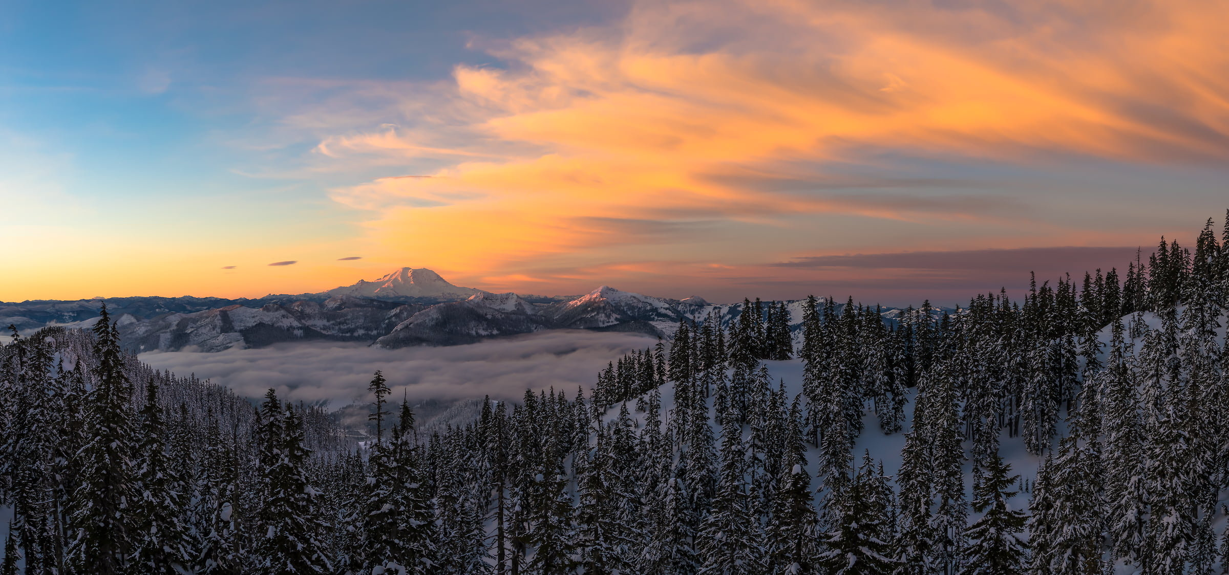 A very high resolution, large-format VAST photo print of Mount Rainier and the Cascade Mountains; fine art landscape photo created by Scott Rinckenberger from Kendall Peak in Washington, USA
