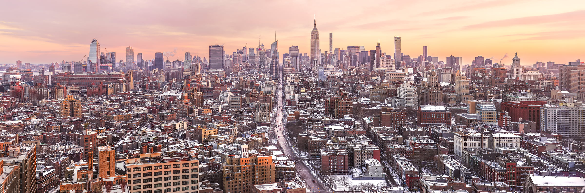 A very high resolution, large-format VAST photo print of the NYC skyline in winter snow; cityscape sunrise fine art photo created by Dan Piech in New York City