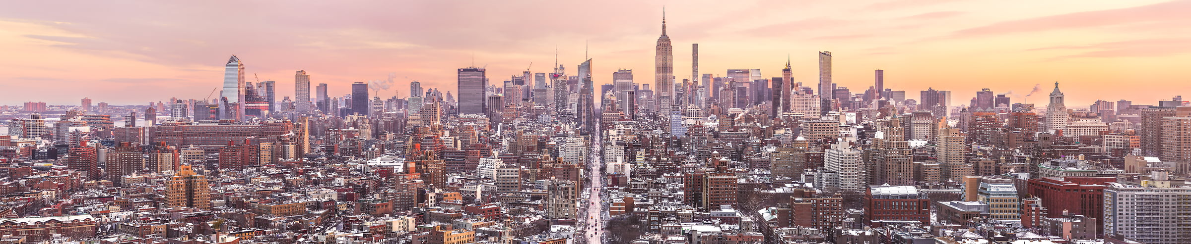 1,150 megapixels! A very high resolution, large-format VAST photo print of the NYC skyline in winter snow; cityscape sunrise fine art photo created by Dan Piech in New York City