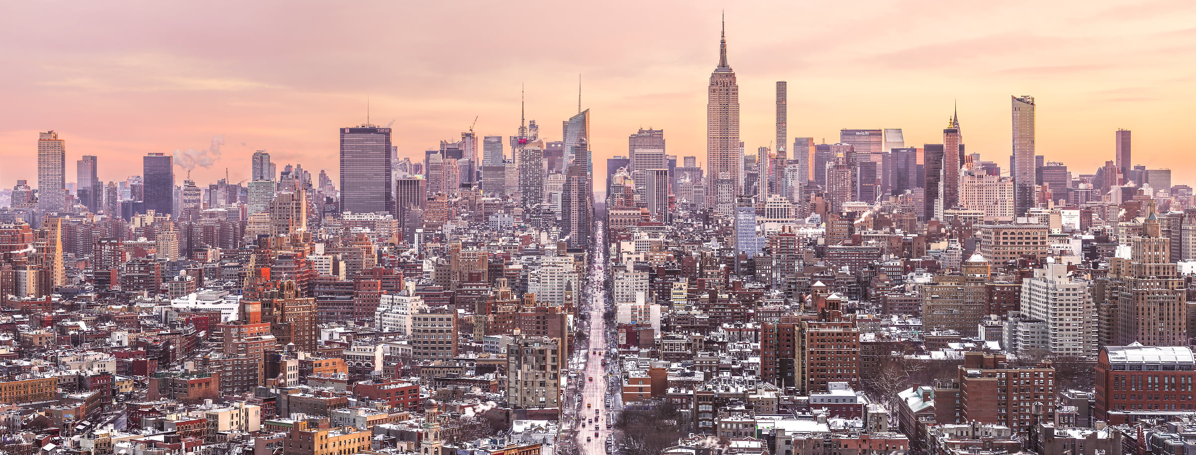 621 megapixels! A very high resolution, large-format VAST photo print of the NYC skyline in winter snow; cityscape sunrise fine art photo created by Dan Piech in New York City