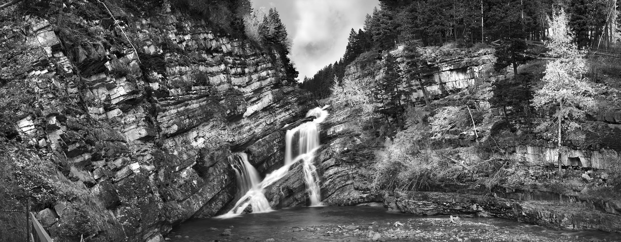 A very high resolution, large-format VAST photo print of Cameron Falls waterfall in Waterton Lakes National Park; fine art nature photograph created by Steven Webster in Alberta, Canada
