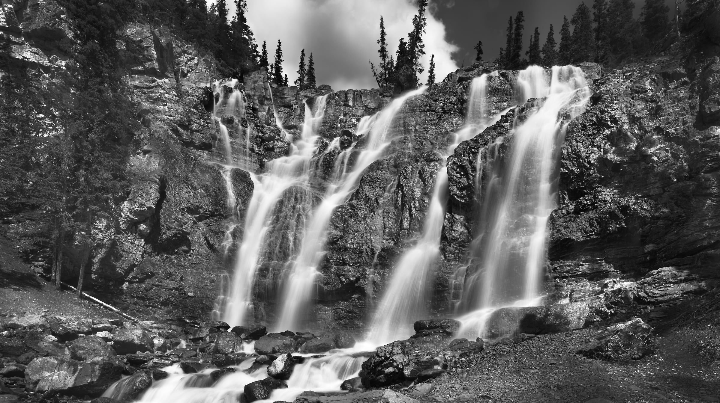 551 megapixels! A very high resolution, large-format VAST photo print of a waterfall in Jasper National Park; fine art nature photograph created by Steven Webster in Alberta, Canada