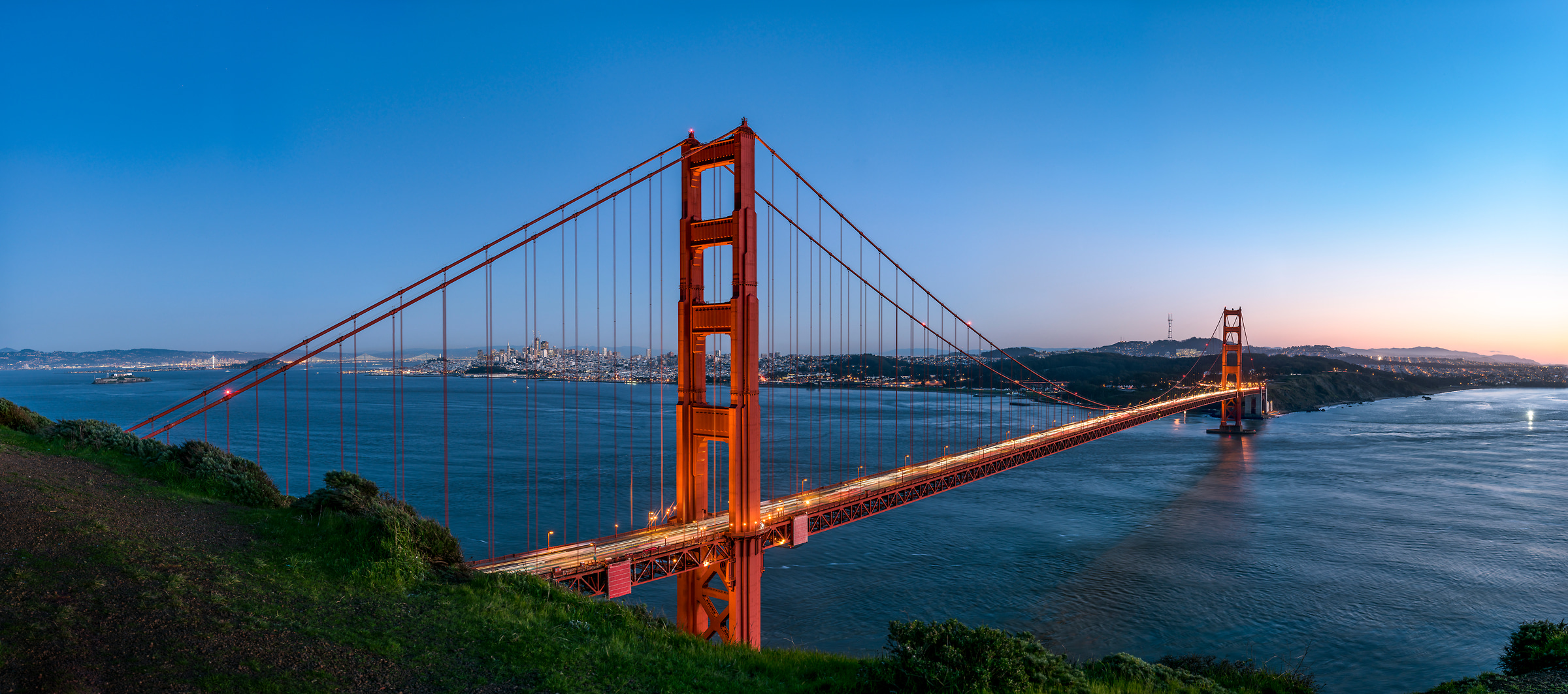 334 megapixels! A very high resolution, large-format VAST photo print of the Golden Gate Bridge, San Francisco, and the San Francisco Bay; cityscape fine art photo created by Justin Katz from Battery Spencer in Sausalito, California