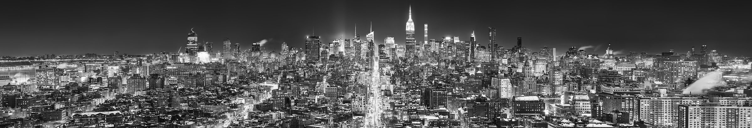 4,636 megapixels! A very high resolution, large-format VAST photo print of the Manhattan NYC skyline in winter snow at night; black and white cityscape fine art photo created by Dan Piech in New York City