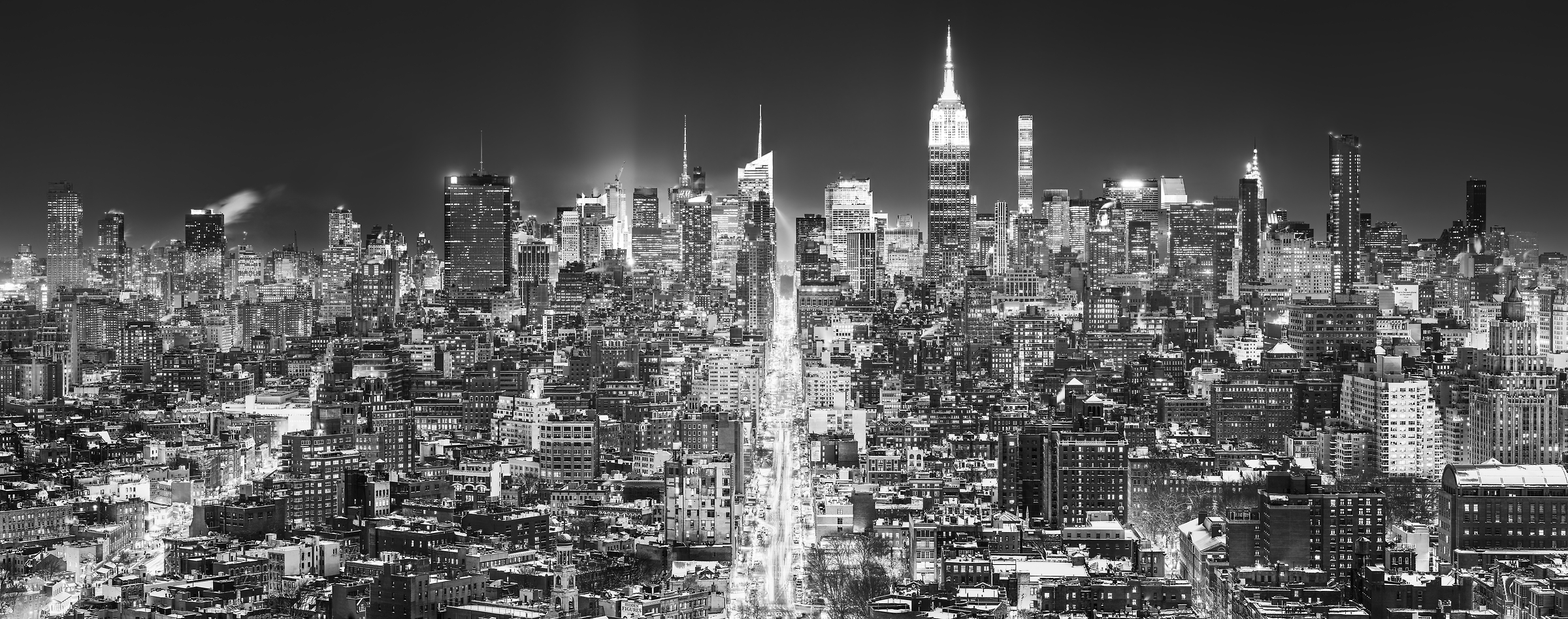 2,002 megapixels! A very high resolution, large-format VAST photo print of the Manhattan NYC skyline in winter snow at night; black and white cityscape fine art photo created by Dan Piech in New York City