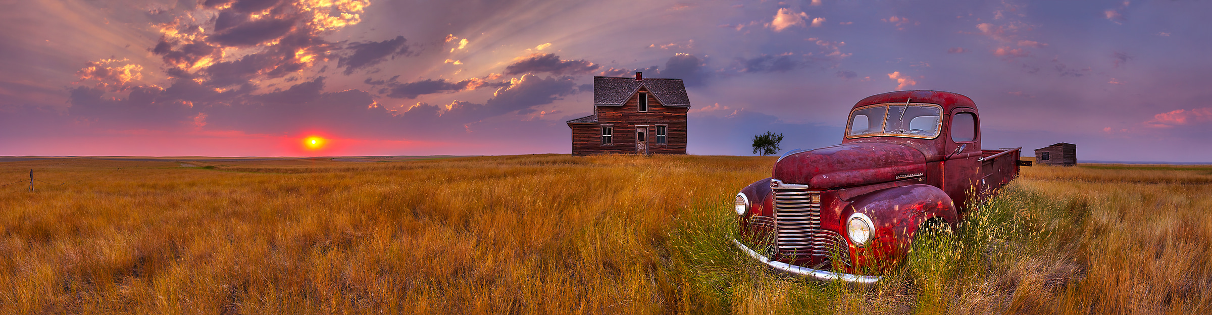 105 megapixels! A very high resolution, large-format VAST photo of farmland, the prairie, an old truck, and an abandoned house; fine art landscape photo created at sunset by Scott Dimond on the Great Plains in Saskatchewan, Canada