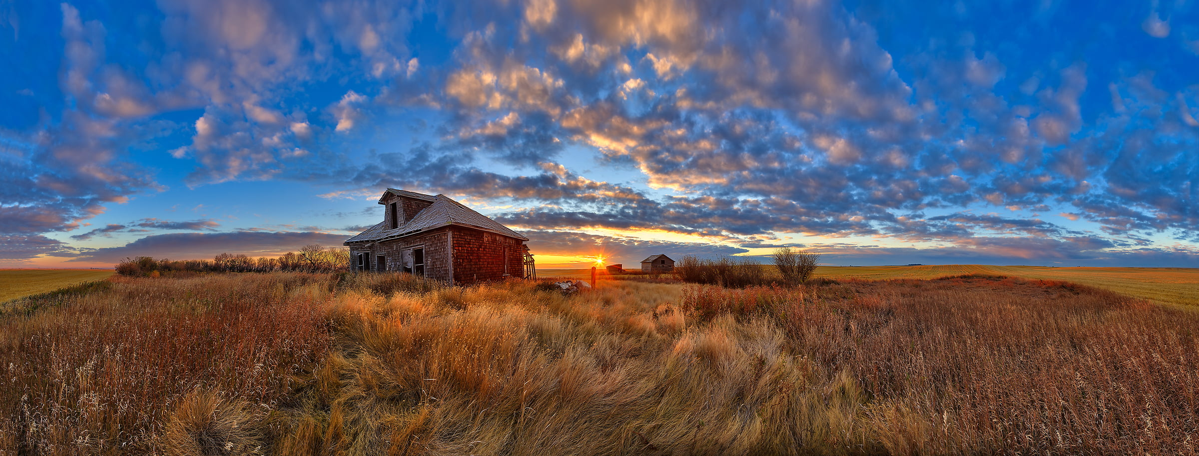 137 megapixels! A very high resolution, large-format VAST photo of farmland, grasslands, the prairie, and an old abandoned house; fine art landscape photo created at sunset by Scott Dimond on the Great Plains in Alberta, Canada