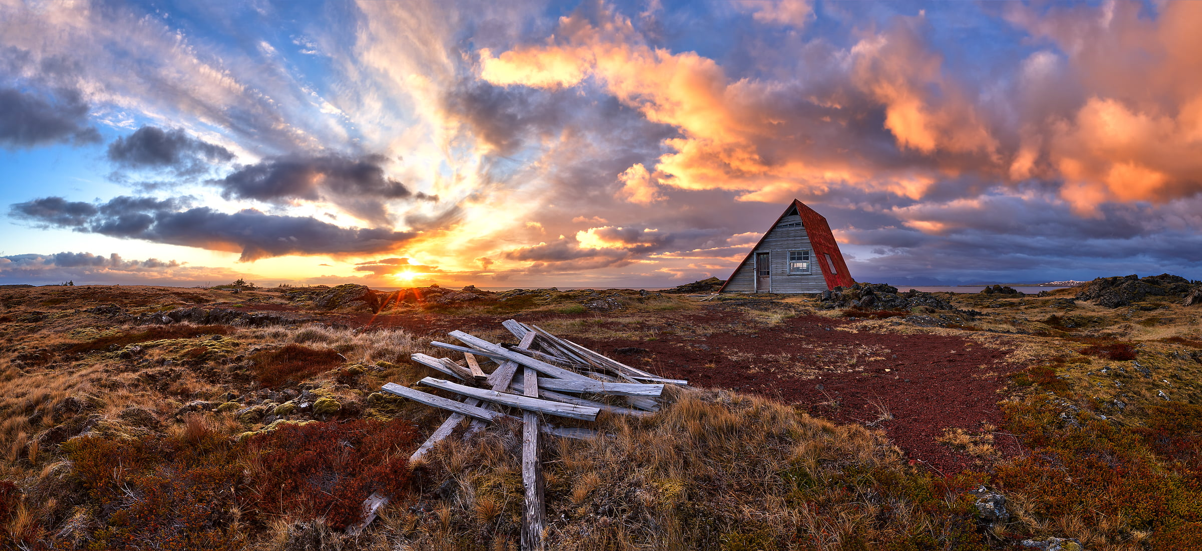 73 megapixels! A very high resolution, large-format VAST photo of an A-frame house in Iceland; fine art landscape photo created at sunset by Scott Dimond on the Great Plains in the Capital Region of Iceland