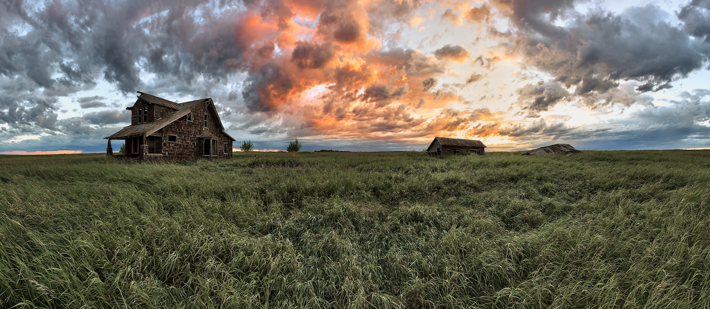 74 megapixels! A very high resolution, large-format VAST photo of farmland, grasslands, the prairie, and an old abandoned house; fine art landscape photo created at sunrise by Scott Dimond on the Great Plains in Alberta, Canada