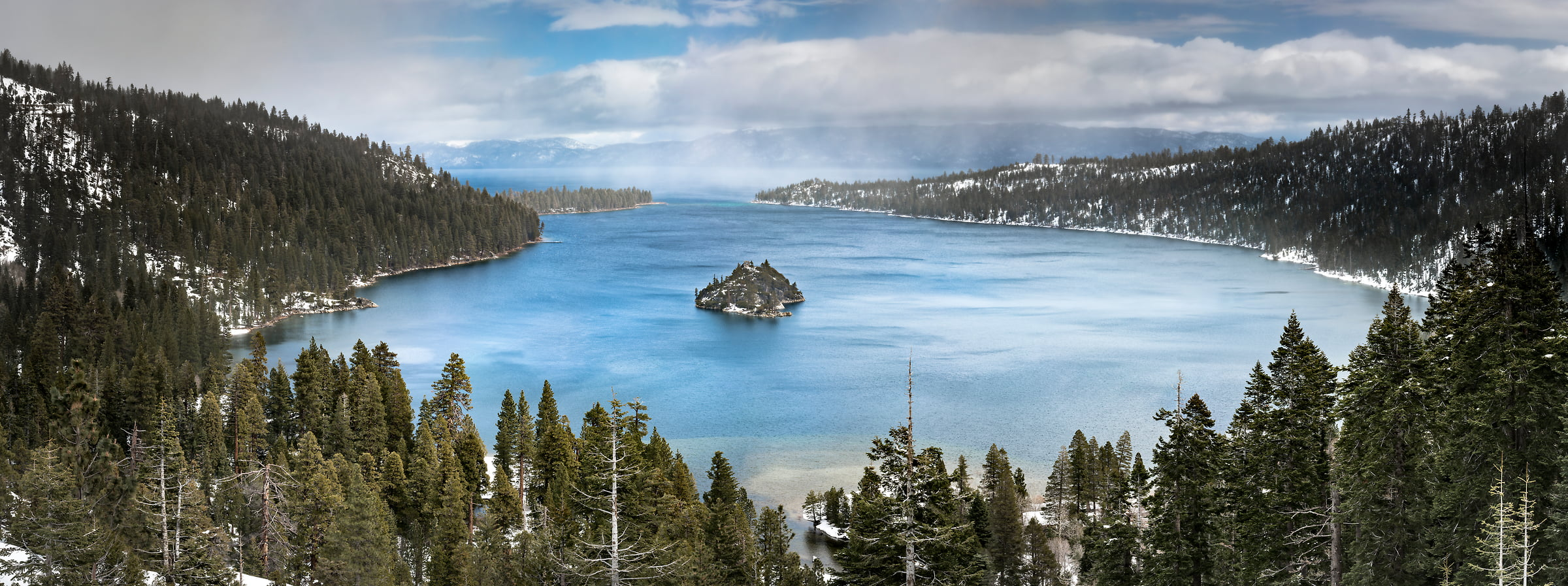 A very high resolution, large-format VAST photo of Emerald Bay in Lake Tahoe in winter with snow; fine art landscape photograph created by Justin Katz in California