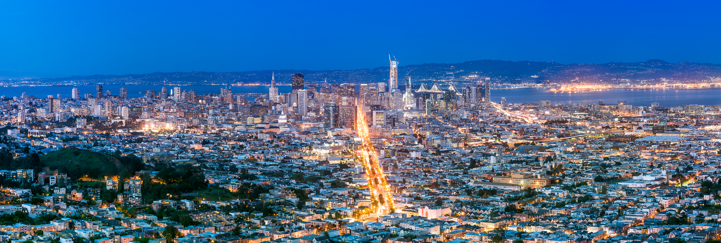 363 megapixels! A very high resolution, large-format VAST photo of the Downtown San Francisco city skyline at sunset dusk; fine art cityscape photograph created by Justin Katz in California