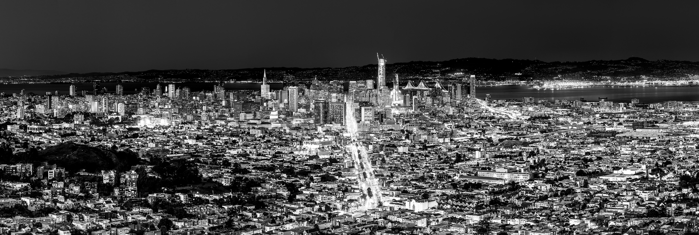 363 megapixels! A very high resolution, large-format VAST photo of the Downtown San Francisco city skyline at sunset dusk; fine art black and white cityscape photograph created by Justin Katz in California
