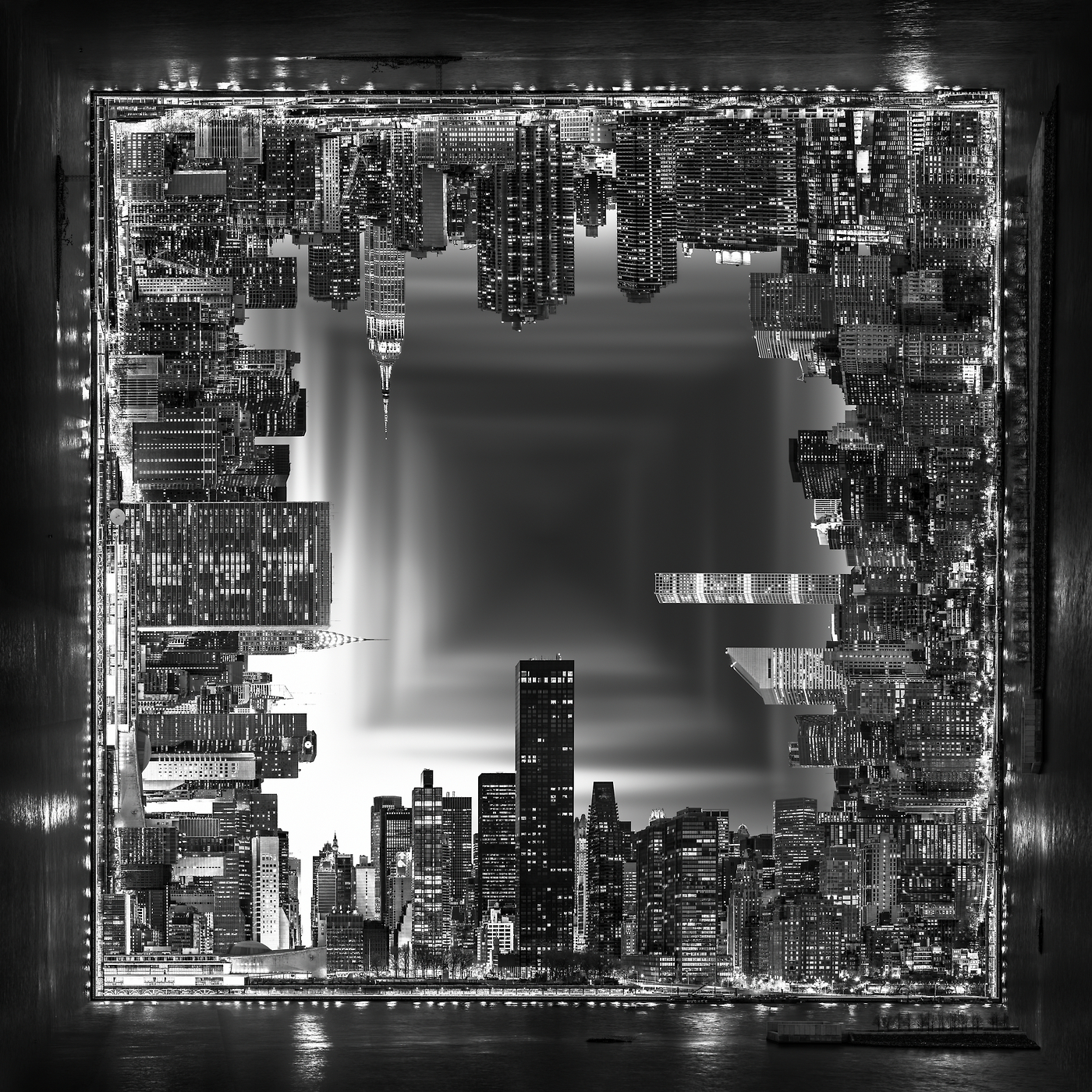 An abstract modern art vast photo of the surreal midtown manhattan skyline