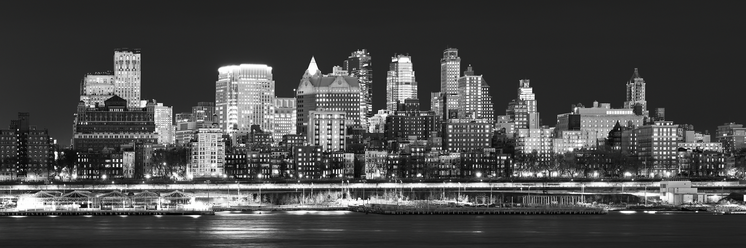 225 megapixels! A very high resolution, large-format VAST photo of the Downtown Brooklyn and Brooklyn Heights skyline at sunset dusk; fine art black and white cityscape photograph created by Dan Piech in New York City