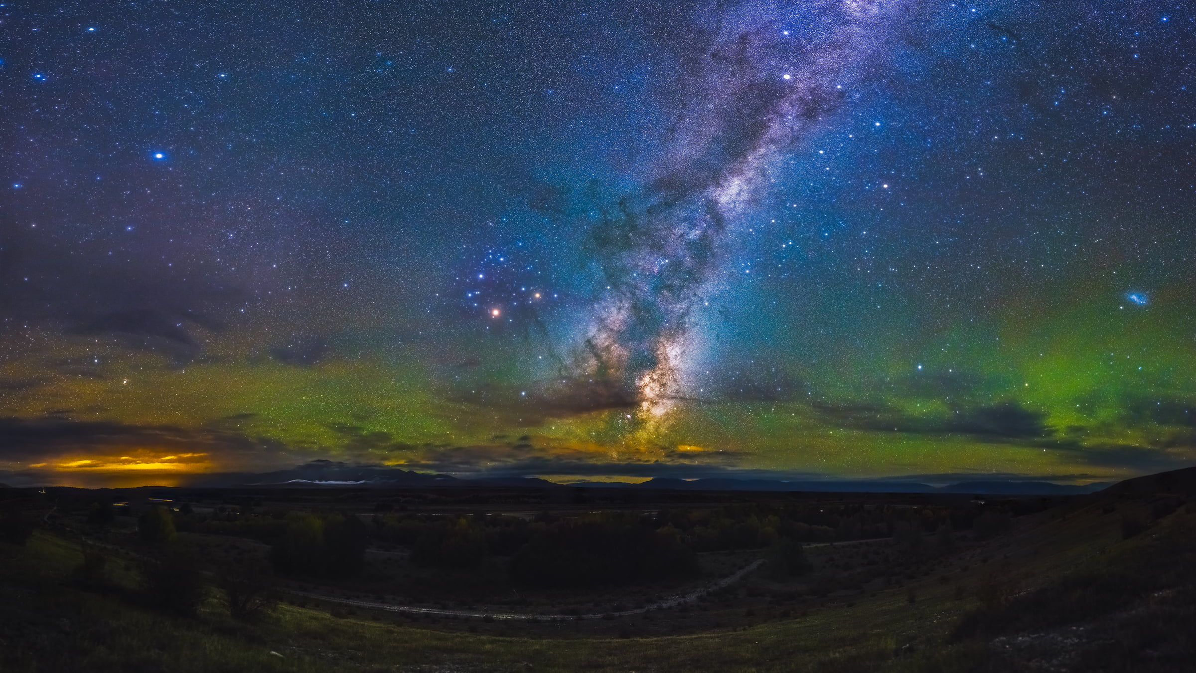 306 megapixels! A very high resolution, large-format VAST photo print of the night sky, milky way, and stars; fine art astrophotography landscape photo created by Paul Wilson in New Zealand
