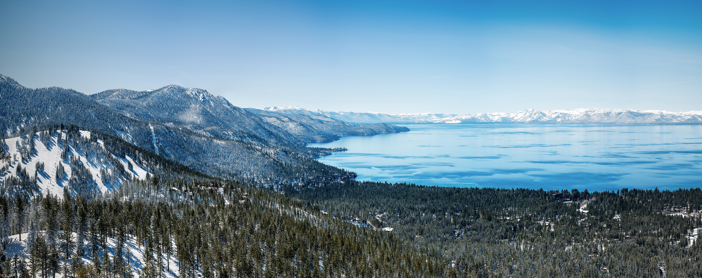 403 megapixels! A very high resolution, large-format VAST photo of Lake Tahoe in winter with snow; fine art landscape photograph created by Justin Katz from Mount Rose Highway in Nevada
