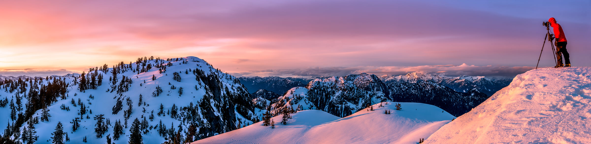 193 megapixels! A very high resolution, large-format VAST photo of a photographer photographing sunset from the summit of Mount Seymour in the North Shore Mountains; fine art landscape photograph created by Tim Shields in the District of North Vancouver, British Columbia, Canada
