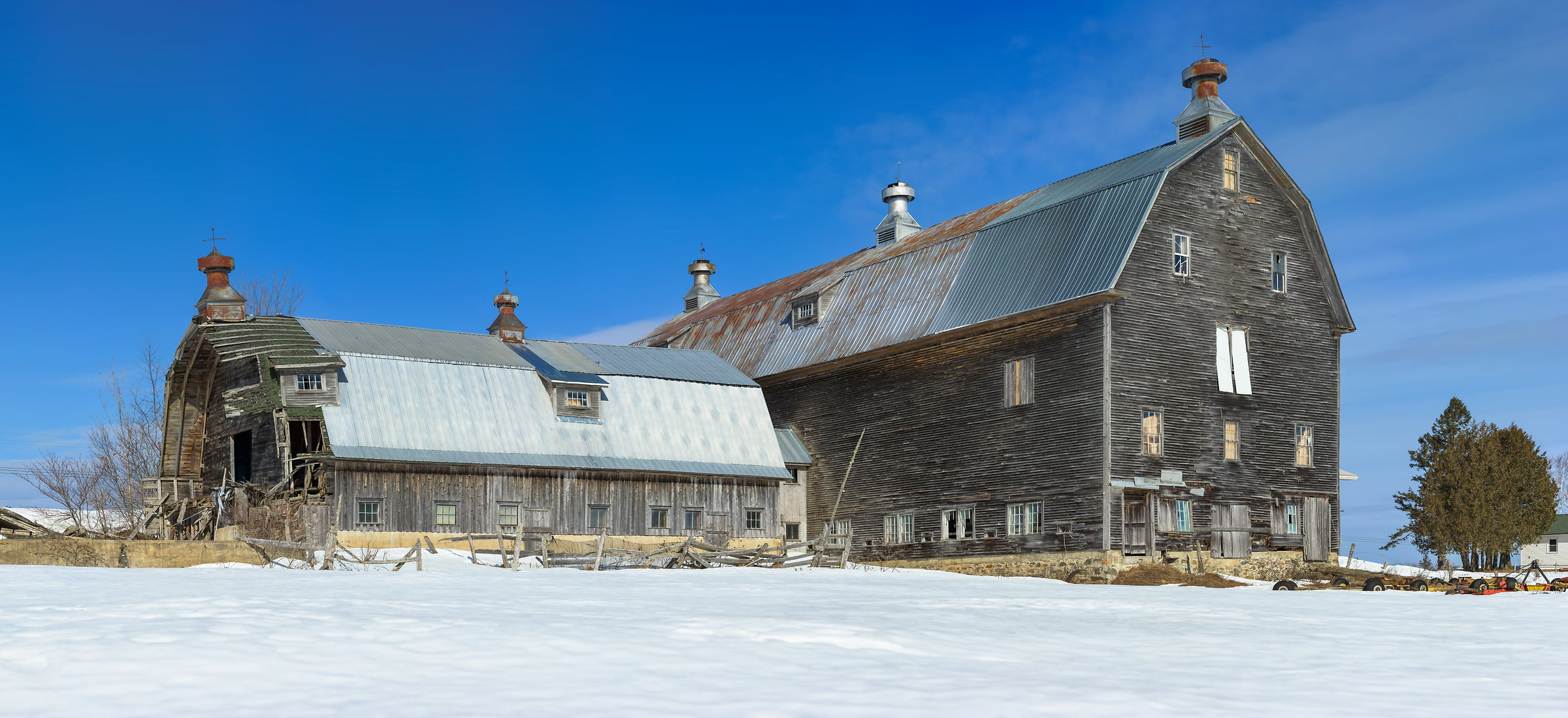 1,012 megapixels! A very high resolution, large-format VAST photo of a farm house in snow in winter in New England; fine art landscape photograph created by Aaron Priest in Stacyville, Maine