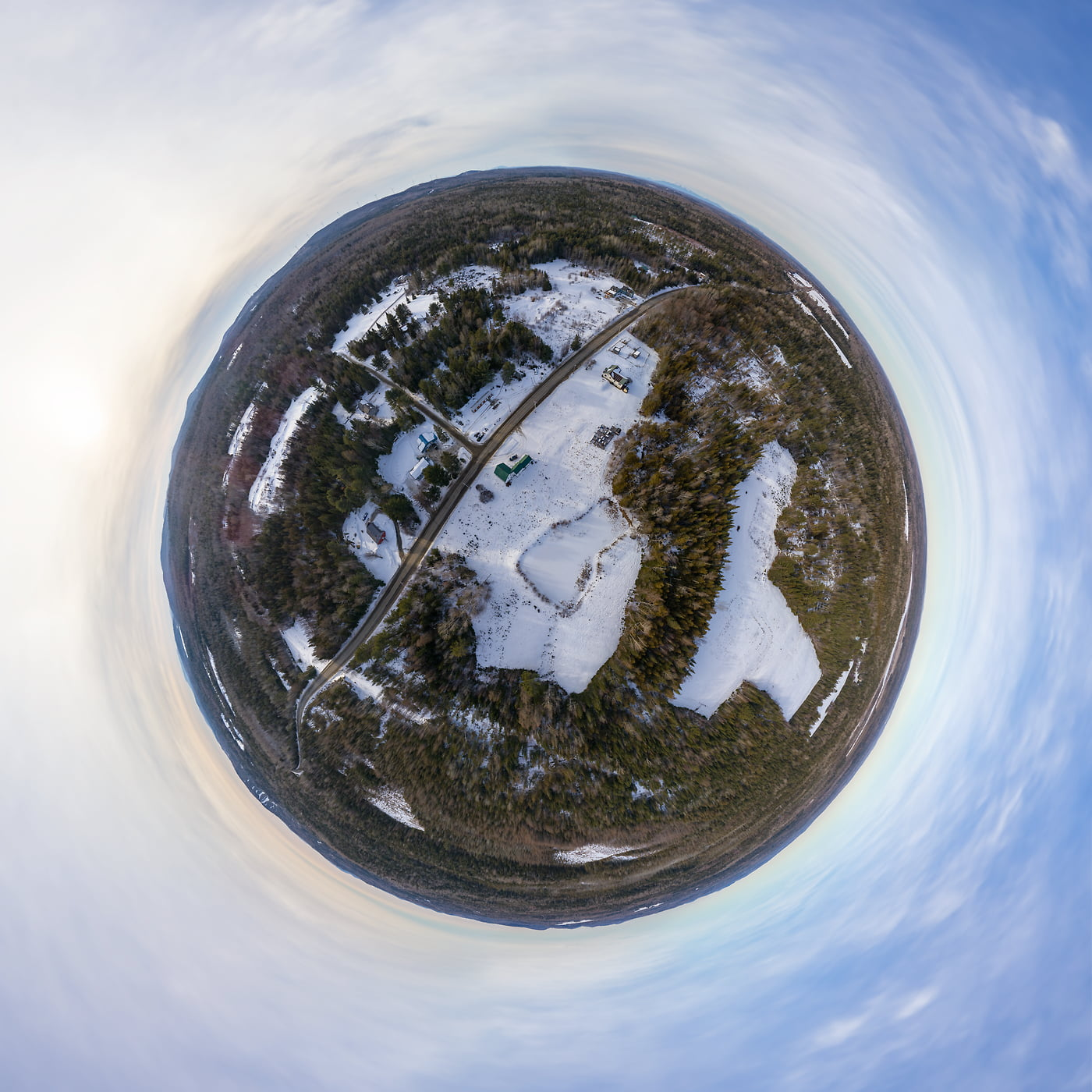 431 megapixels! A very high resolution, large-format VAST photo of Lee, Maine; fine art aerial 360-degree panorama photograph created by Aaron Priest in New England