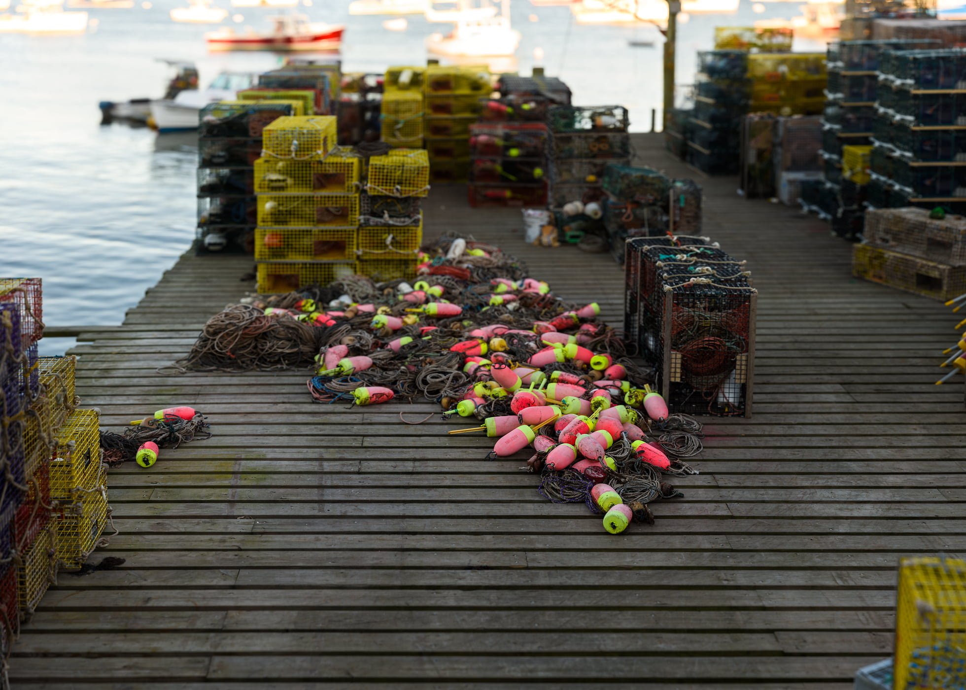 632 megapixels! A very high resolution, large-format VAST photo of a New England harbor pier with fishing equipment, lobster traps, fishing nets, buoys, and boats; fine art photograph created by Aaron Priest in Bernard, Maine