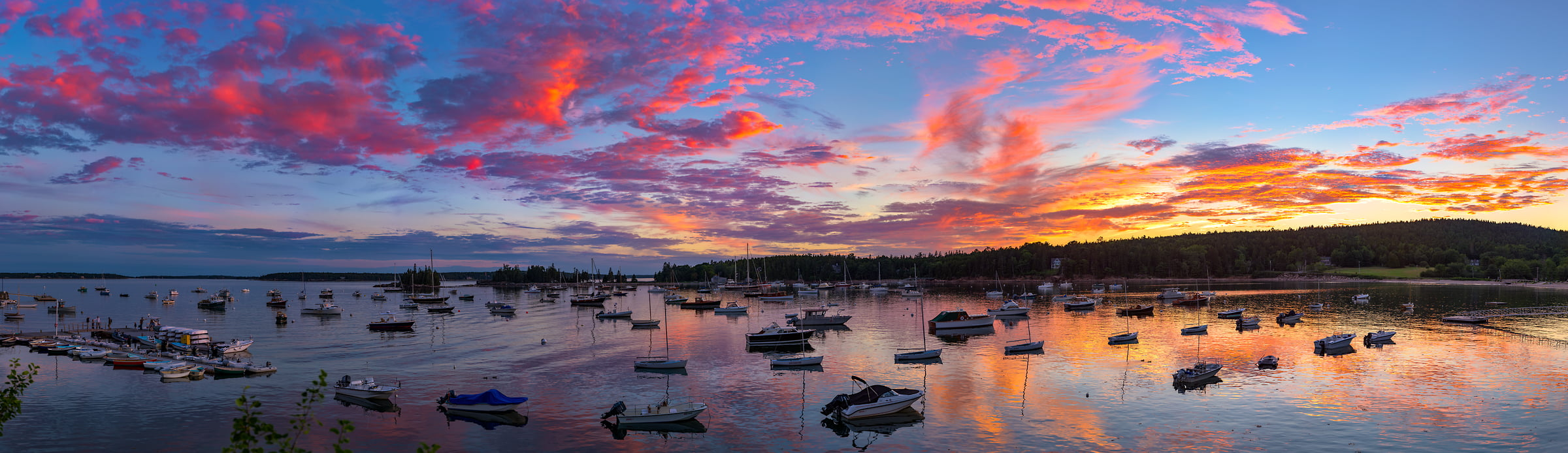 952 megapixels! A very high resolution, large-format VAST photo of a New England harbor with boats at sunset; fine art landscape photograph created by Aaron Priest in Seal Harbor, Maine