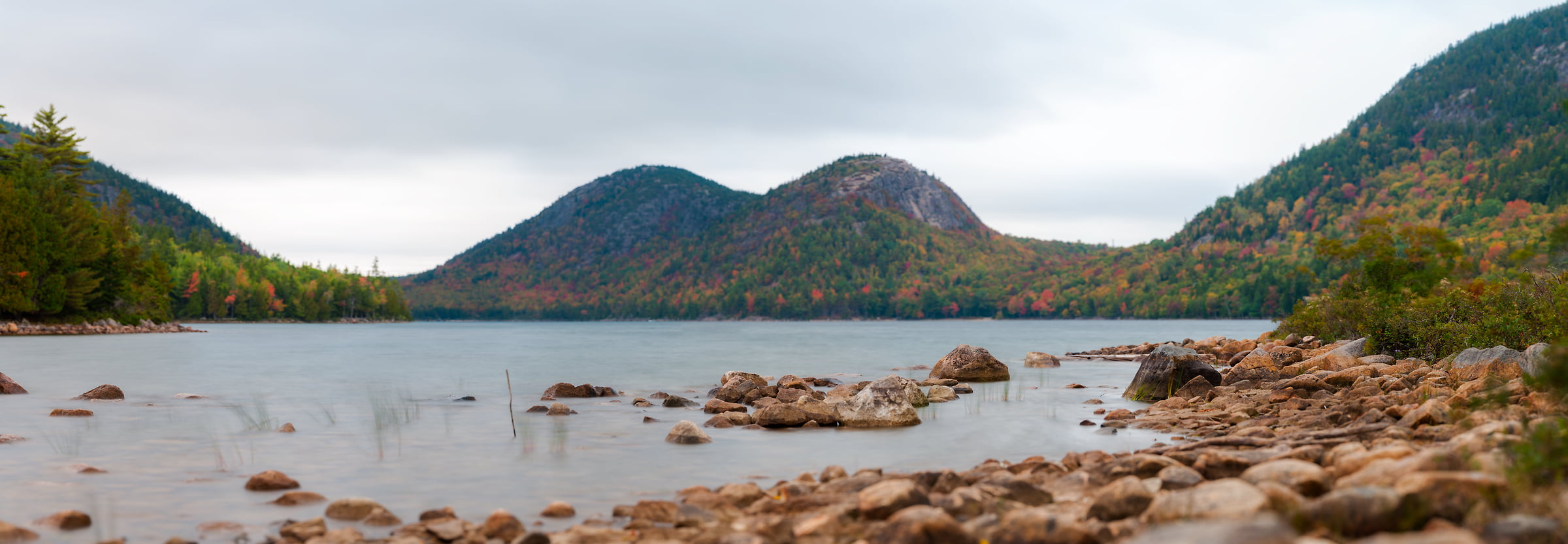 118 megapixels! A very high resolution, large-format VAST photo of Jordan Pond in Acadia National Park; fine art landscape photograph created by Aaron Priest in Maine, New England