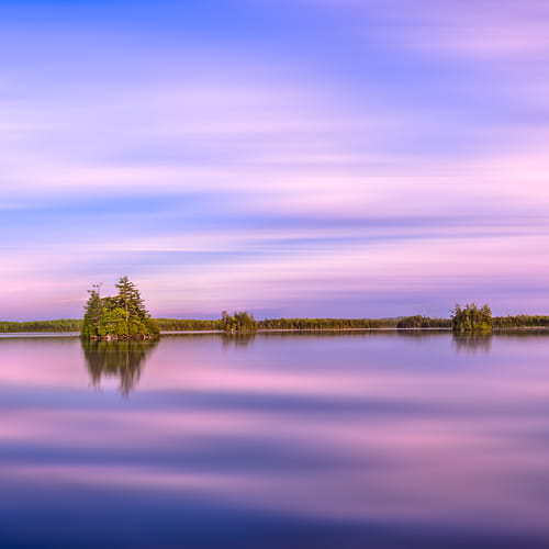 Thumbnail from A very high resolution, large-format VAST photo of sunset over Quakish Lake in New England; fine art landscape photograph created by Aaron Priest in Millinocket, Maine