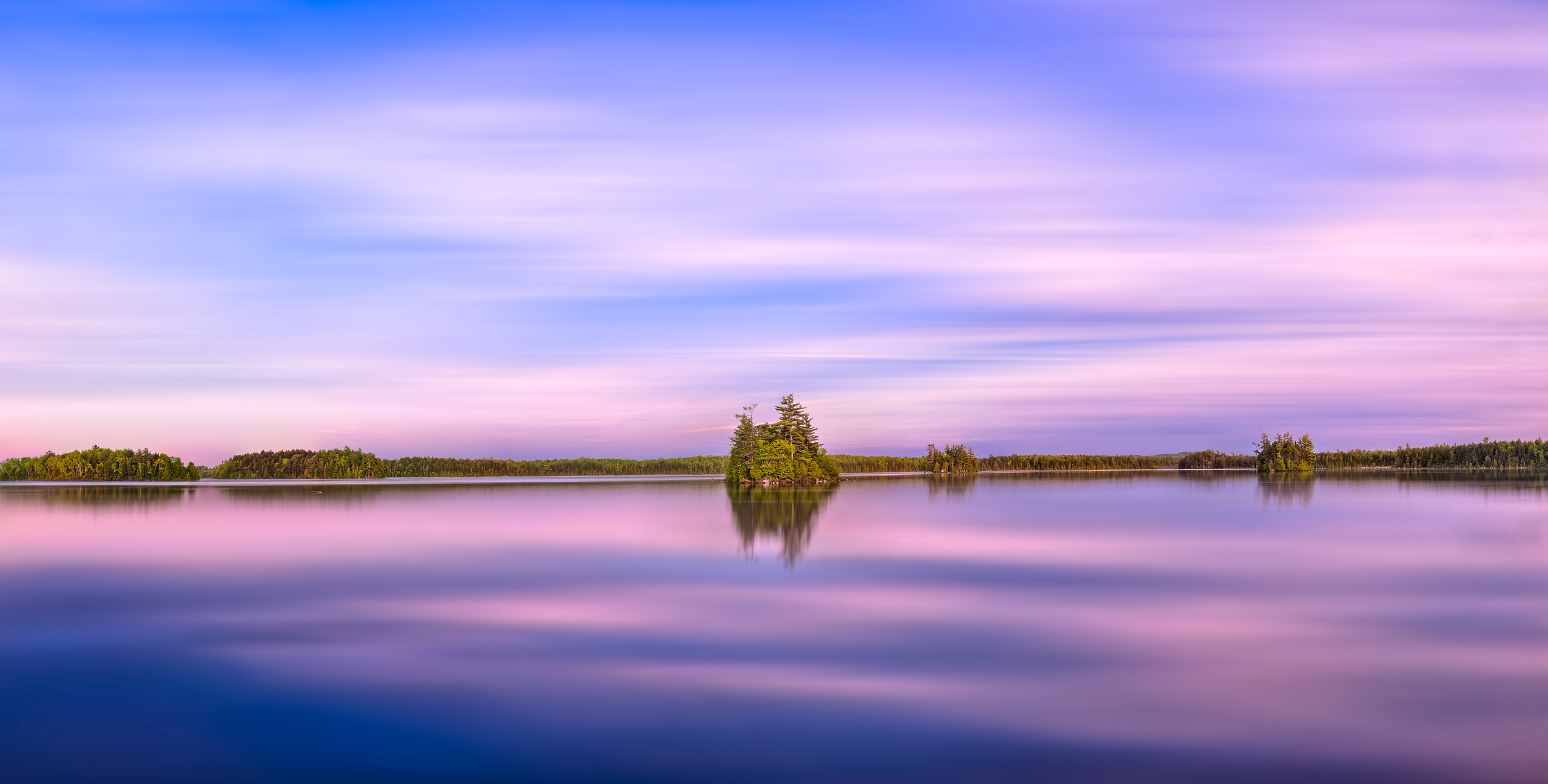 115 megapixels! A very high resolution, large-format VAST photo of sunset over Quakish Lake in New England; fine art landscape photograph created by Aaron Priest in Millinocket, Maine