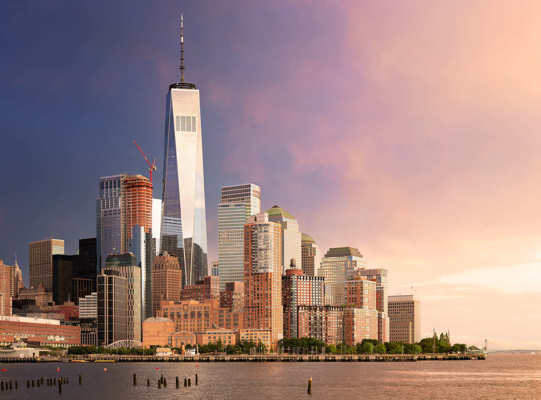 759 megapixels! A very high resolution, large-format VAST photo of the World Trade Center and Battery Park City at sunset; fine art skyline photo created by cityscape photographer Dan Piech in New York City