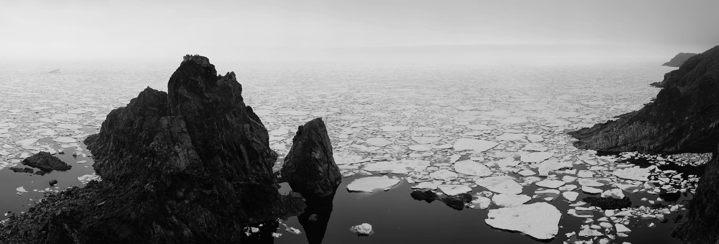 1,580 megapixels! A very high resolution, large-format VAST photo of ice and icebergs floating in an ocean bay; black & white fine art landscape photo created by Scott Dimond in La Scie, Newfoundland, Canada
